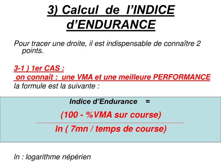 3) Calcul  de  l'INDICE  d'ENDURANCE