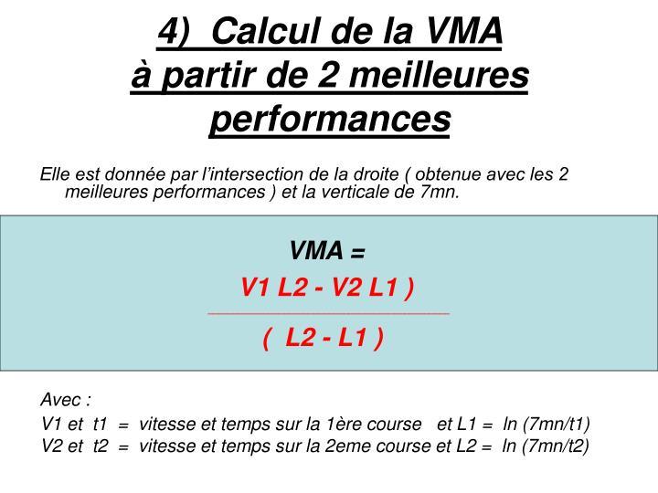 4)  Calcul de la VMA