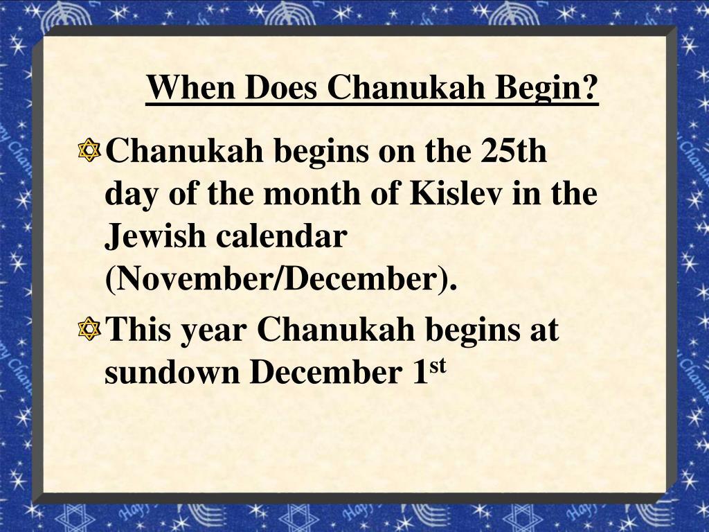 When Does Chanukah Begin?