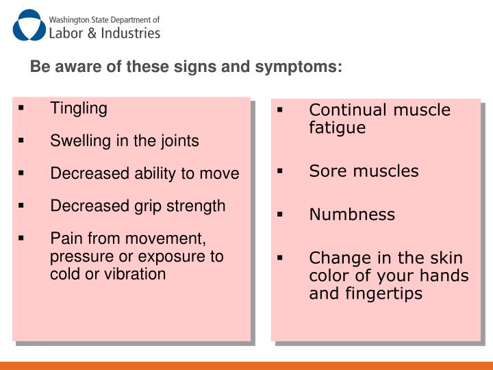 Be aware of these signs and symptoms: