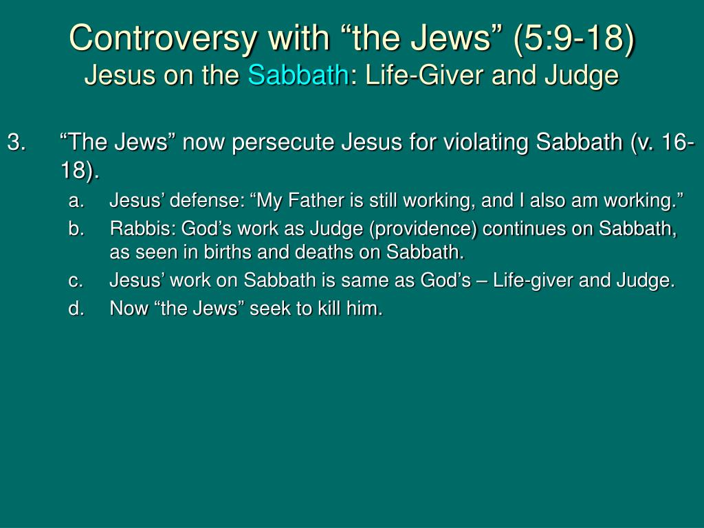 "Controversy with ""the Jews"" (5:9-18)"