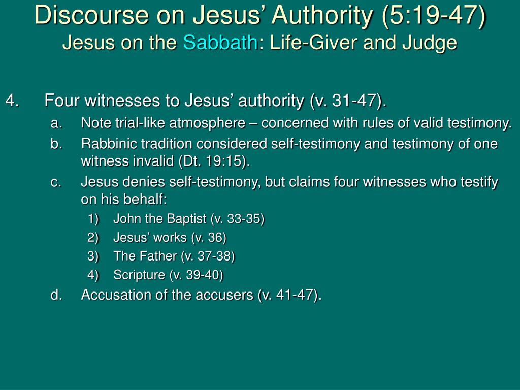 Discourse on Jesus' Authority (5:19-47)