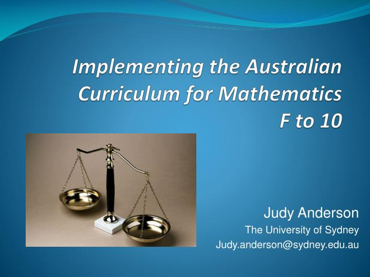 Implementing the austra lia n implementing the australian curriculum for mathematics f to 10