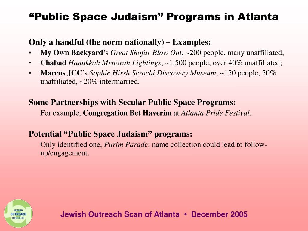 """Public Space Judaism"" Programs in Atlanta"