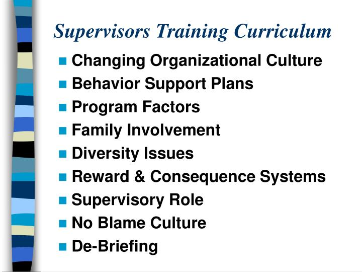 Supervisors Training Curriculum