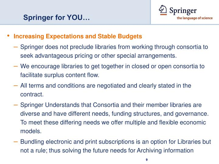 Springer for YOU…