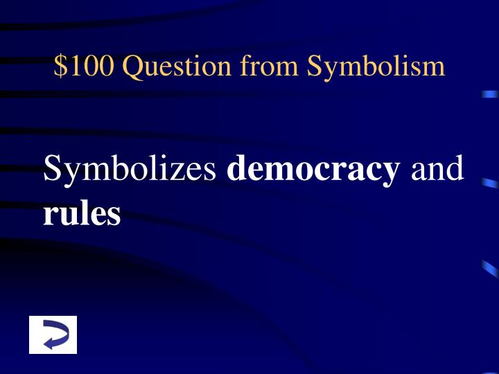 $100 Question from Symbolism