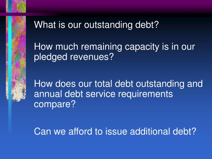 What is our outstanding debt?