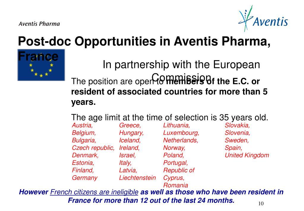 Post-doc Opportunities in Aventis Pharma, France