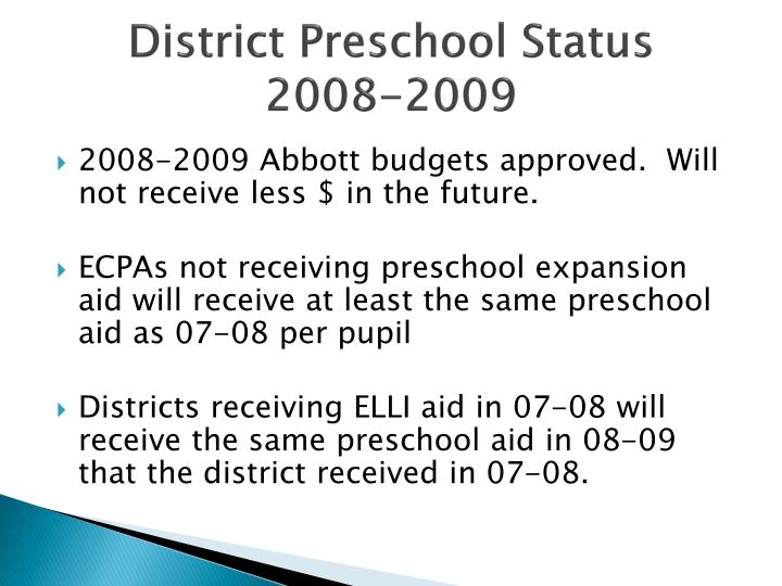 District Preschool Status