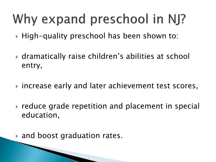 Why expand preschool in NJ?