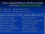 i jesus initial ministry produces faith 1 19 4 42 2 discourses 3 1 4 42
