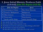 i jesus initial ministry produces faith 1 19 4 42 john the baptist 3 22 36