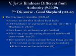 v jesus kindness different from authority 9 10 39 7 th discourse good shepherd 10 1 42