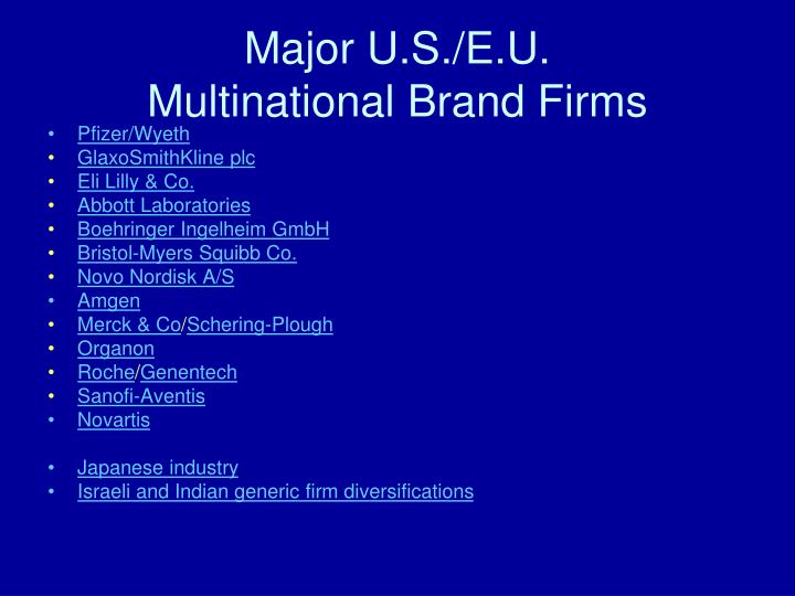Major u s e u multinational brand firms