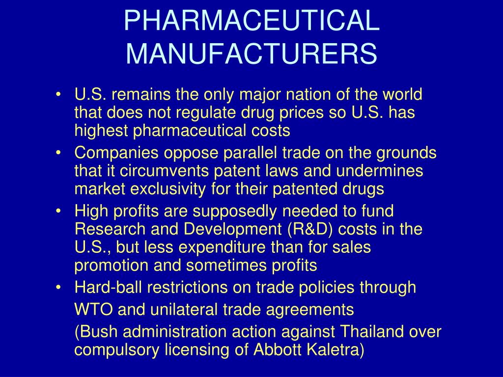 PHARMACEUTICAL MANUFACTURERS