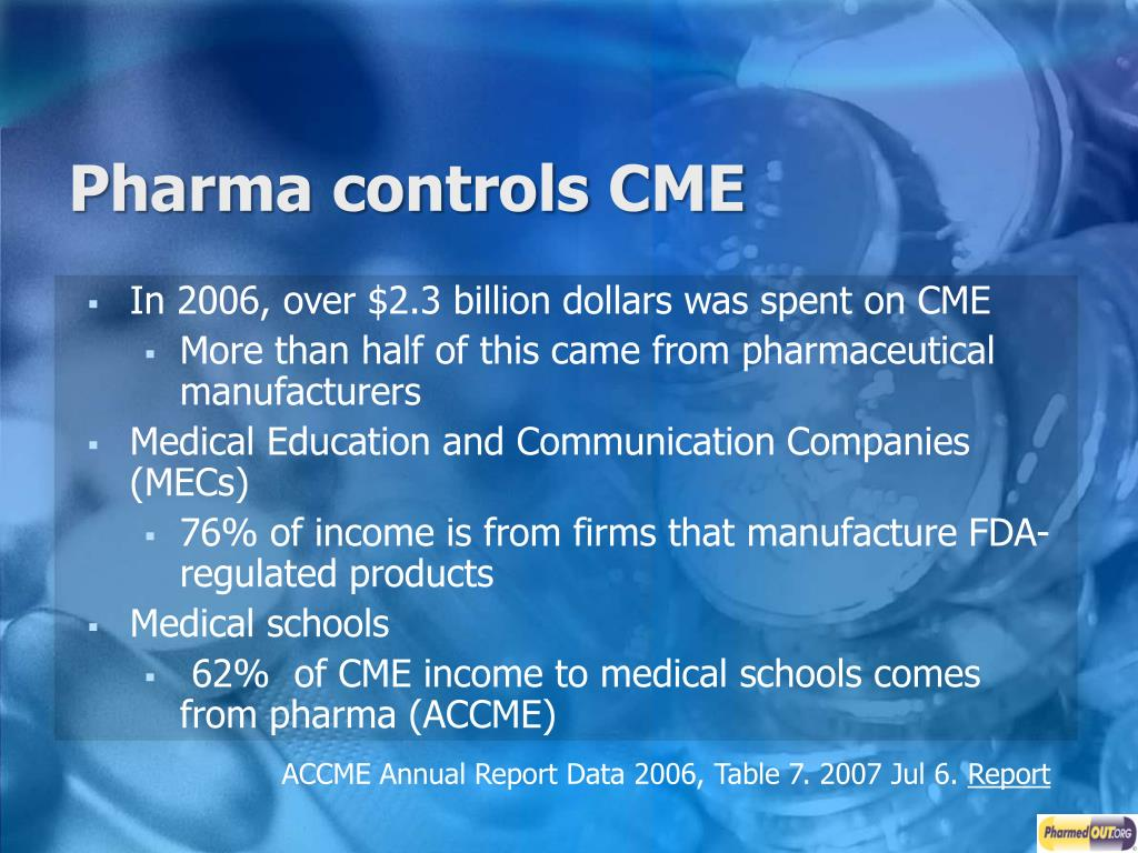 Pharma controls CME