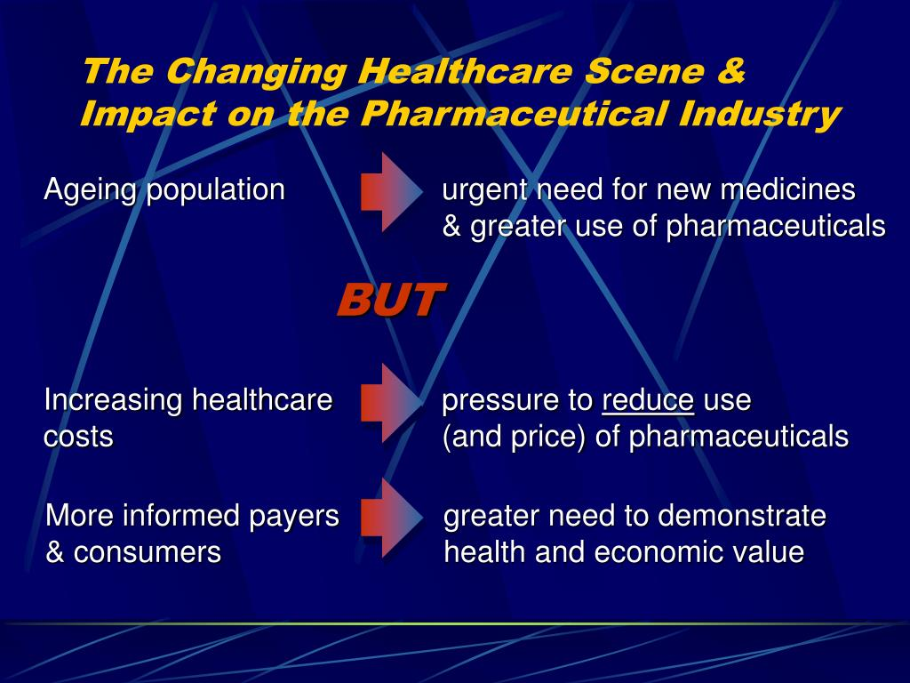 Ageing population	urgent need for new medicines 	& greater use of pharmaceuticals