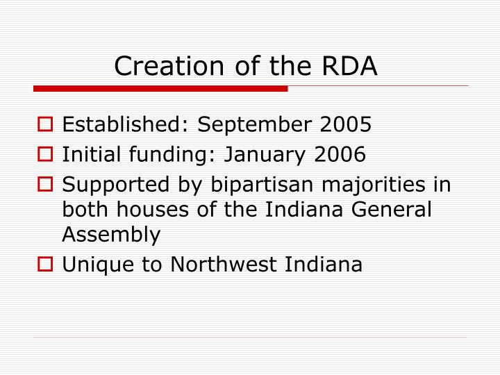 Creation of the rda