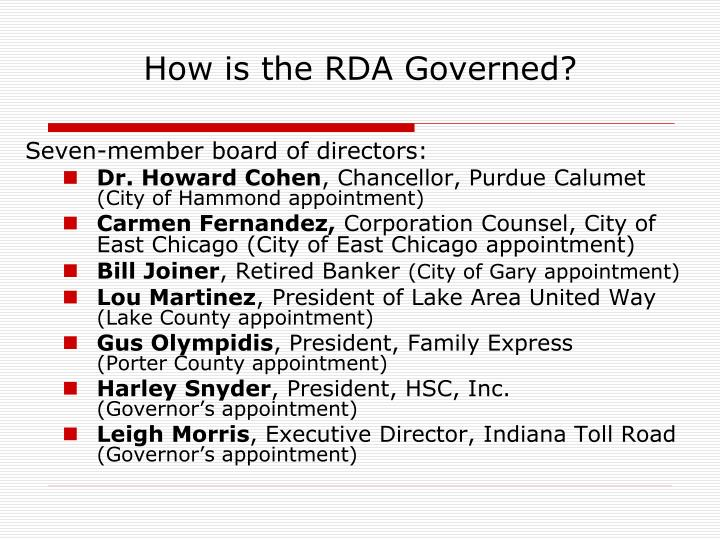 How is the RDA Governed?