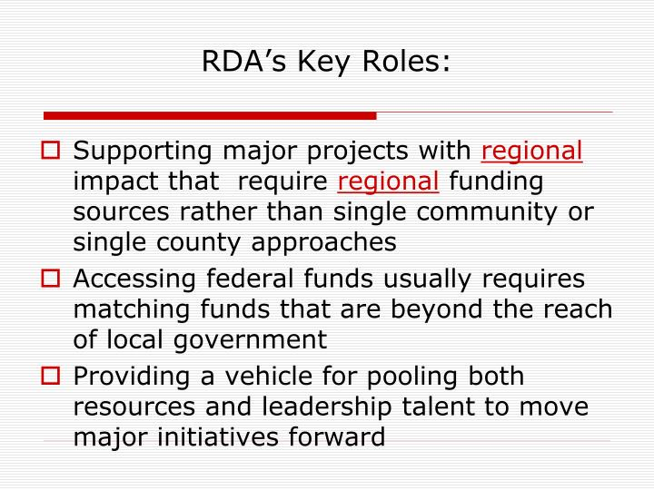 RDA's Key Roles: