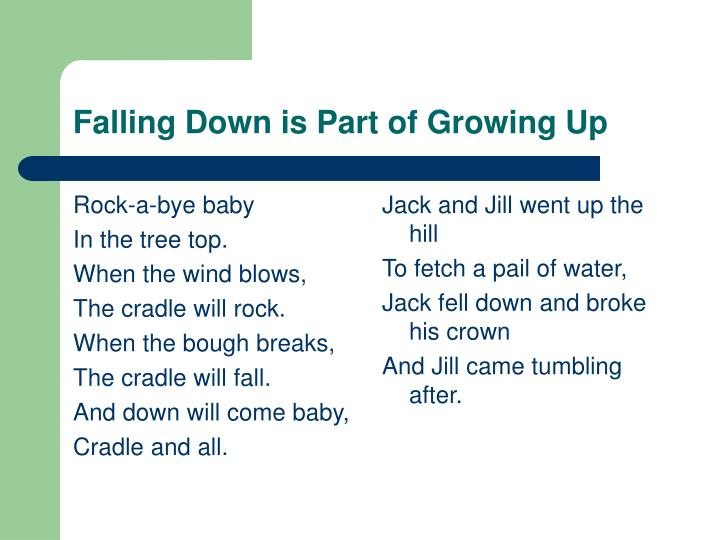Falling down is part of growing up