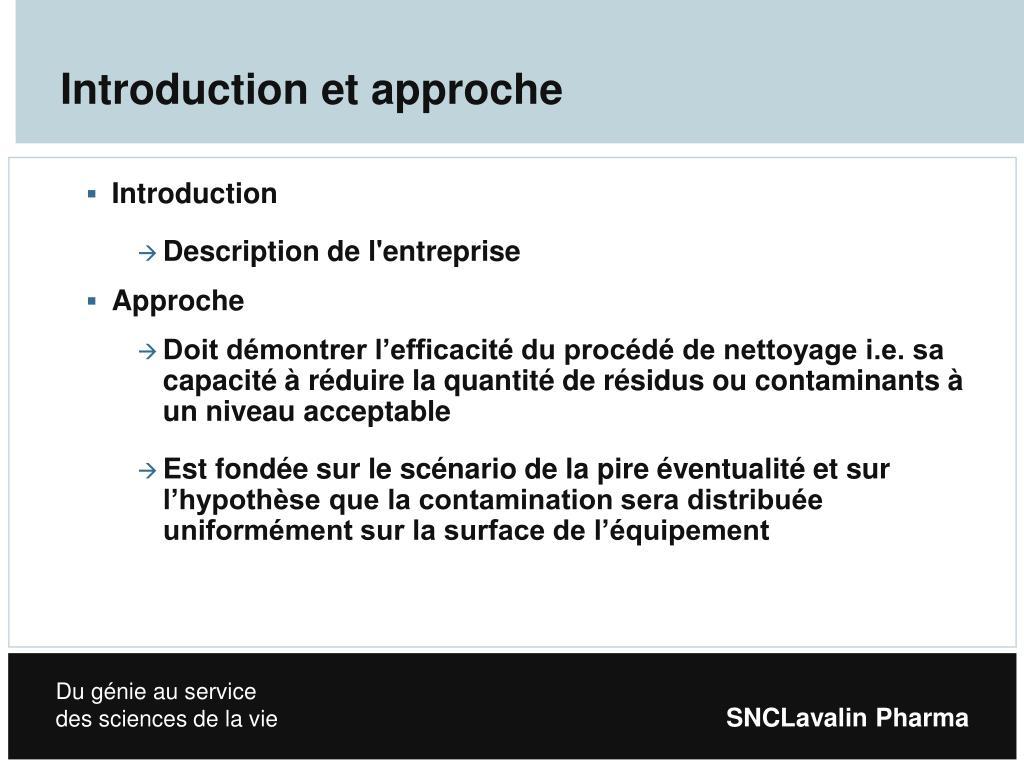 Introduction et approche