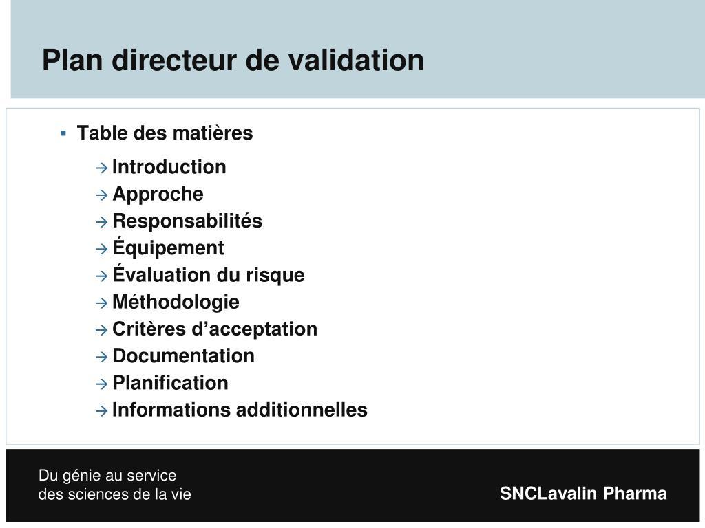 Plan directeur de validation