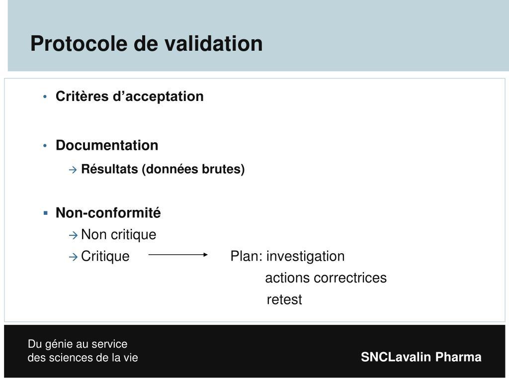 Protocole de validation