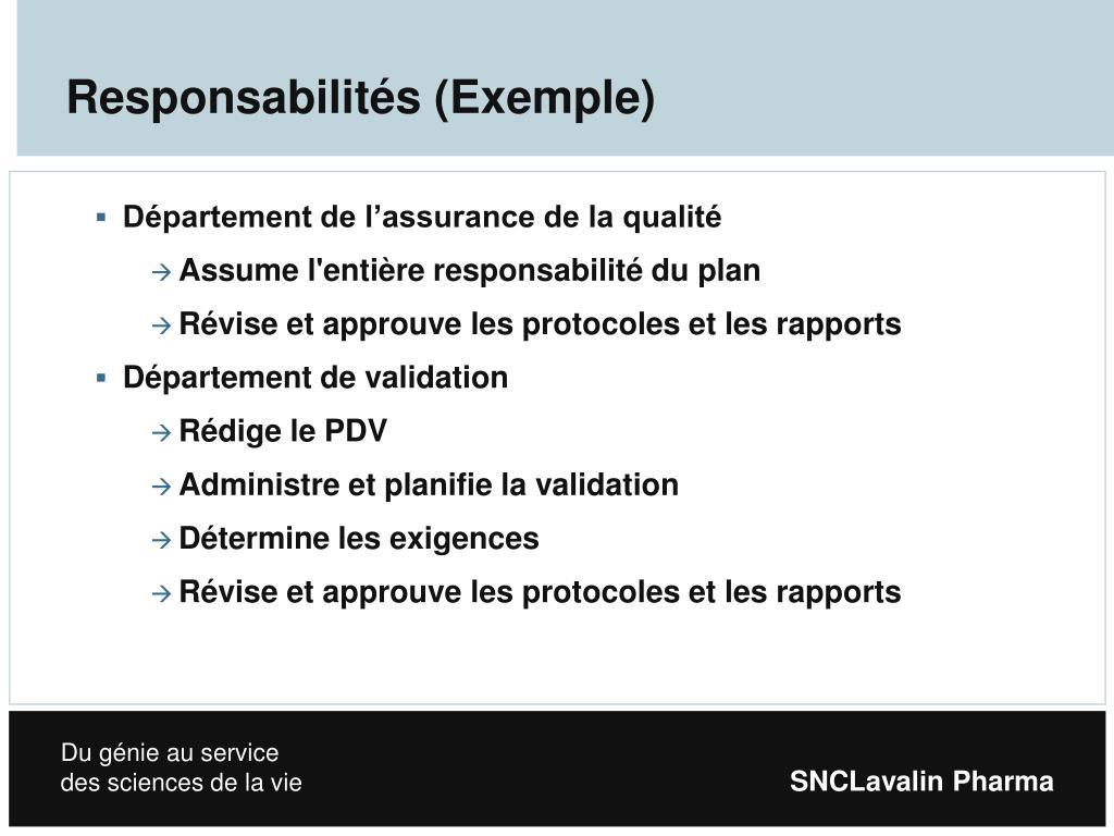 Responsabilités (Exemple)