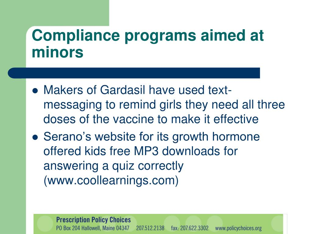 Compliance programs aimed at minors