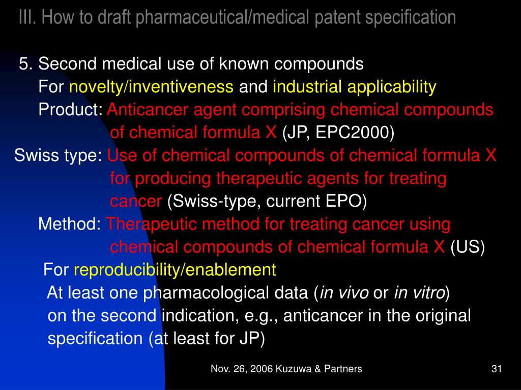 III. How to draft pharmaceutical/medical patent specification