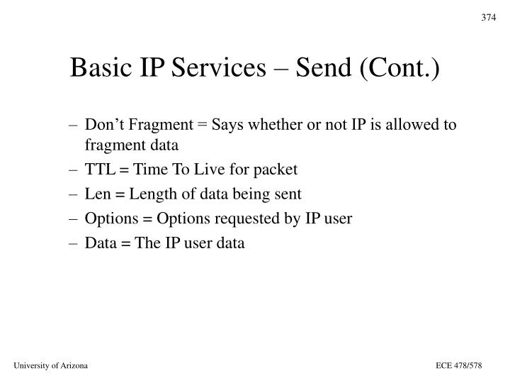 Basic IP Services – Send (Cont.)
