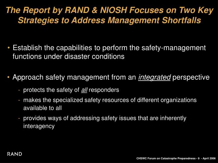 The Report by RAND & NIOSH Focuses on Two Key Strategies to Address Management Shortfalls