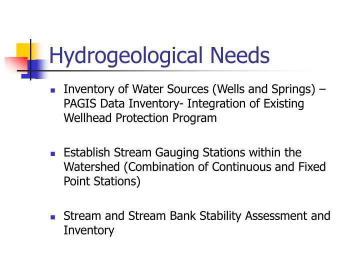 Hydrogeological Needs