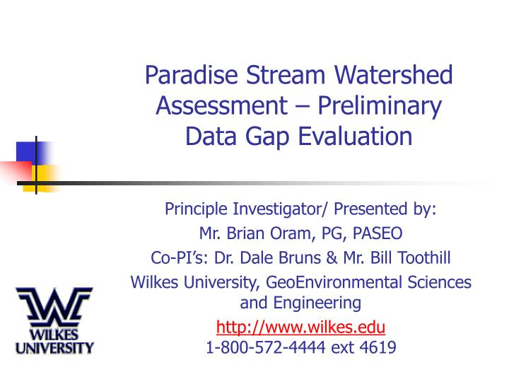 Paradise stream watershed assessment preliminary data gap evaluation