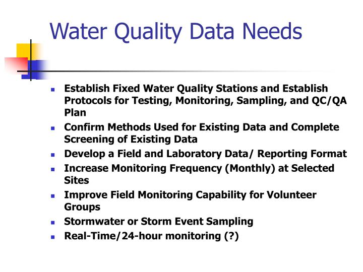 Water Quality Data Needs