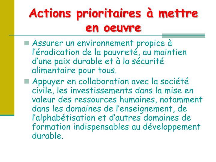 Actions prioritaires à mettre en oeuvre