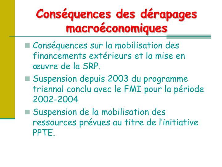 Conséquences des dérapages macroéconomiques