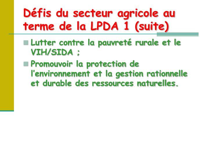 Défis du secteur agricole au terme de la LPDA 1 (suite)
