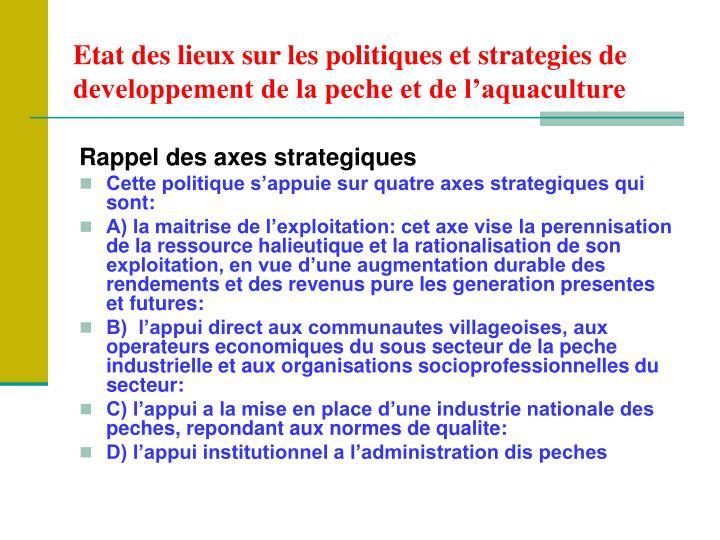 Etat des lieux sur les politiques et strategies de developpement de la peche et de l'aquaculture