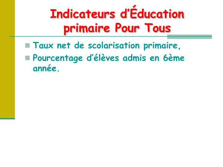 Indicateurs d'Éducation primaire Pour Tous