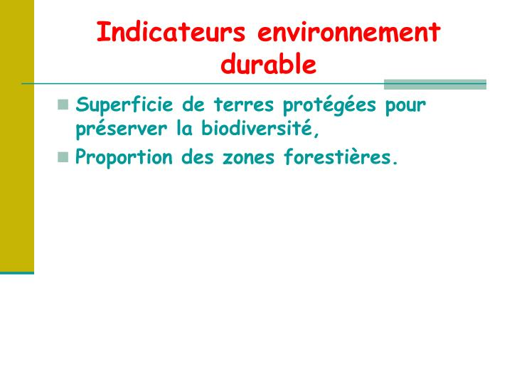 Indicateurs environnement durable