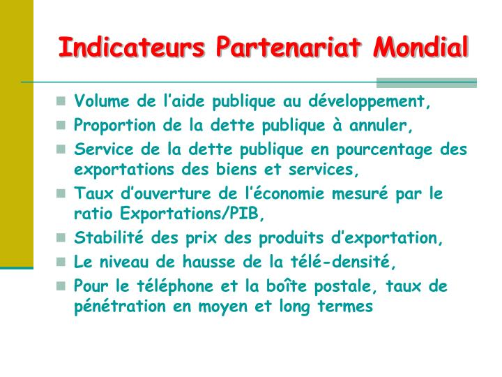 Indicateurs Partenariat Mondial