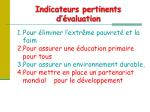 indicateurs pertinents d valuation