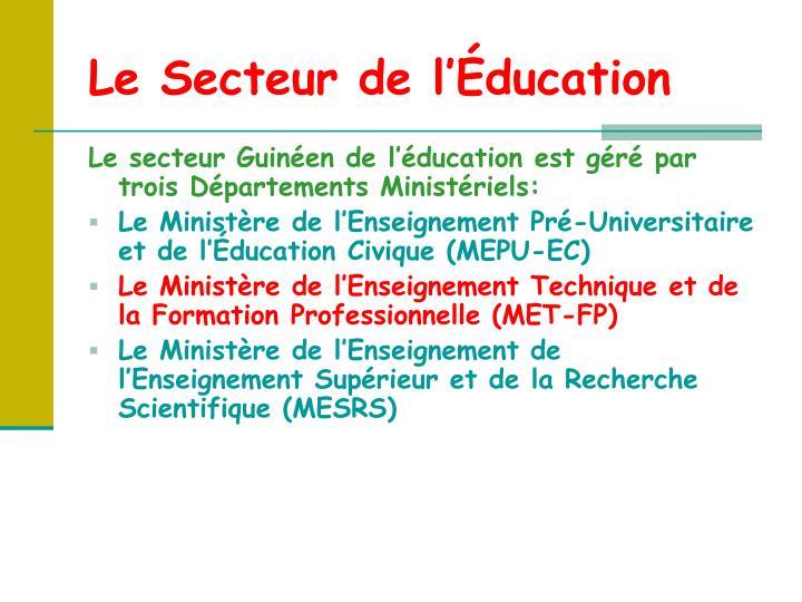 Le Secteur de l'Éducation