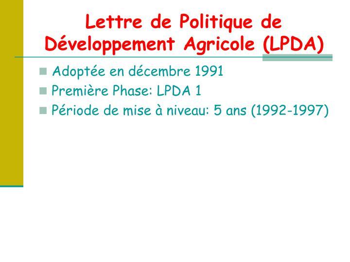 Lettre de Politique de Développement Agricole (