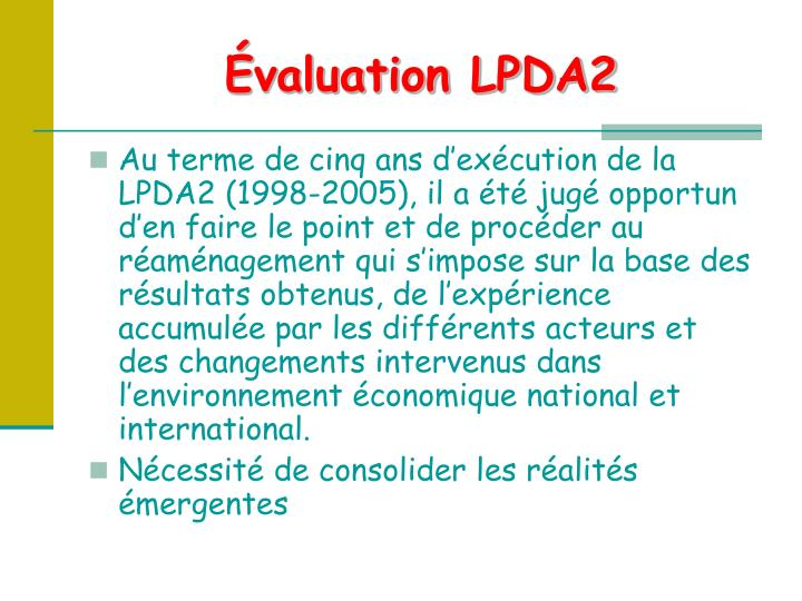 Évaluation LPDA2
