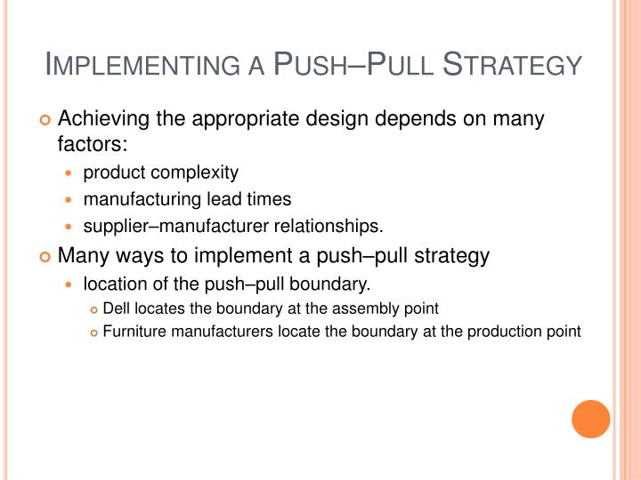Implementing a Push–Pull Strategy