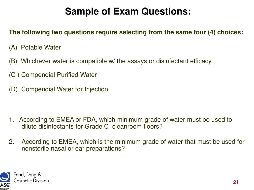 Sample of Exam Questions: